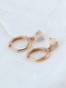 Ethiopian Opal Solid 14 Karat Rose Gold Huggie Earring Fine Earrings Jewelry