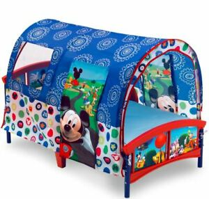 Delta Children Disney Mickey Mouse Baby Infant Plastic Toddler Canopy Bed, Blue