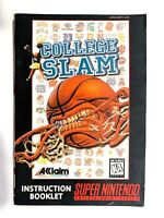 College Slam SNES Manual ONLY Super Nintendo Retro Vintage Video Game