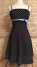 PULSE Juniors Small Brown Blue Pin Up Dress Polka Dot Formal Dance Tulle Ruffle
