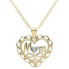 "Fine Jewelry Necklace Mom Pendant 10K Yellow Gold 18"" Chain"