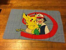 VINTAGE Nintendo Pokemon Pillowcase Blue Yellow Pikachu Squirttle Video Game Ash