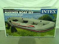 Intex 4 Person Mariner Inflatable River Lake Dinghy Boat Fishing Oars Set Water