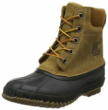 Sorel Mens Cheyanne II Leather Closed Toe Ankle Cold, Chipmunk, Black, Size 12.0