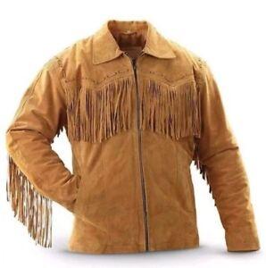 Men Suede Western Cowboy Leather Jacket With Fringe - Tan Brown