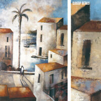 "24W""x36H"" CONTRALUZ by DIDIER LOURENCO - WALKWAY PROMENADE PALM TREE SEA CANVAS"