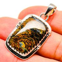 "Pietersite 925 Sterling Silver Pendant 1 1/2"" Ana Co Jewelry P755541F"