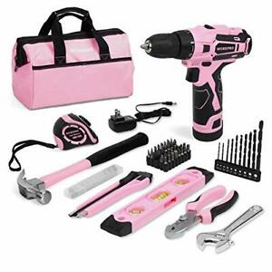 WORKPRO 12V Pink Cordless Drill and Home Tool Kit 61 Pieces Hand Tool for DIY...