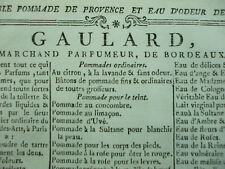 RARE DOCUMENT PUBLICITAIRE PARFUM vers 1775 Gaulard marchand parfumeur