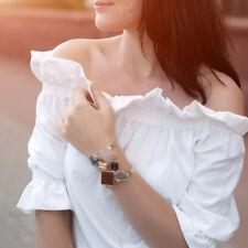 Women Wide Cuff Bracelet With Rhinestone Stones Copper Bracelets Bangles Jewelry