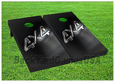 Vinyl Wraps Cornhole Boards Decals 4x4 Black Silver BagToss Game Stickers 843