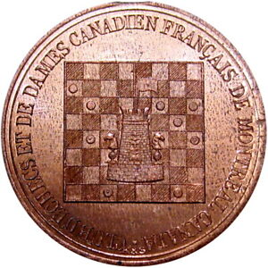 1890 Montreal Canada Token Chess Board Breton 587