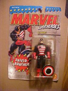 U.S. Agent Figure, 1994 Marvel Super Heroes With Shield Launcher, MIP, Toy Biz