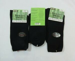 3 Pack Womans Bamboo Anti-Bacterial Tuff Stuff Solid Black Crew Socks size 9-11
