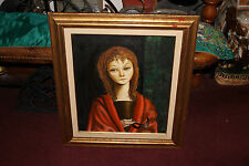 Vintage Original Oil Painting-Somber Girl Holding Face Mask-Signed Clement-1958