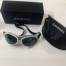 Chanel black white CC ski skiing goggles glasses in case and box mint