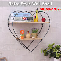2 Tiers Retro Heart-shaped Wooden Iron Craft Wall Shelf Storage Display Rack