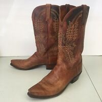 LUCCHESE 1883 VINTAGE BROWN GOAT LEATHER COWBOY BOOTS MENS 8 D