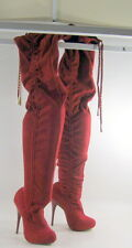 """Womens Red 5"""" High Heel Round Toe Sexy Over Knee Boots Size 5"""