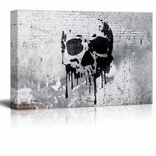 "wall26 - Canvas Wall Art - Skull Painting on Shabby Wall - 12"" x 18"""