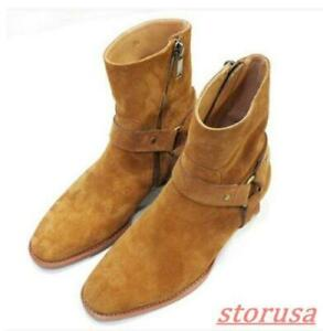 Mens Real Leather Zipper Ankle Boots Chelsea Cowboy Punk Rock Boots Size US5-11