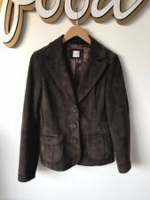 New Look Brown Real Suede Fitted Jacket Blazer Size 12