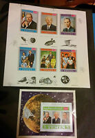 "SPACE YEMEN 1969 V.RARE ""IMPERF"" ASTRONAUTS WITH FAMILY STAMPS SHEET MNH MOON LA"