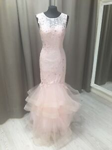 LADIES Prom,Size 8 BNWT Wedding,Party Dress Waterfall fishtail Pale Pink JORA