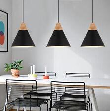 3X Black Ceiling Light Modern Pendant Lights Wood Lamp Home Chandelier Lighting