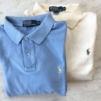 Polo Ralph Lauren XL Polo Long Sleeve Lot 2 regular fit shirts Blue Ivory