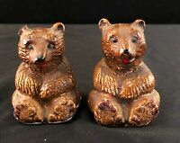 Yellowstone Park Souvenir Grizzly Bear Cubs Salt & Pepper Shakers Vintage
