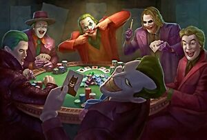Jokers Playing Poker Art Poster Heath Ledger Joaquin Phoenix DC Batman - NEW
