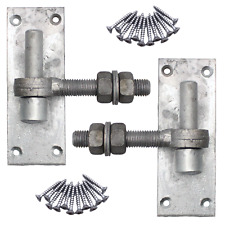 More details for gate hinge hook on plate 16/19mm + eye bolts galvanised pair with fixings
