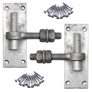 Gate Hinge Hook on Plate 16/19mm + Eye Bolts Galvanised PAIR with Fixings