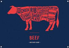 """""""macellai tagli, le carni bovine"""" METAL SIGN, carni, Cucinare, Cucina, Smalto, no. 634"""