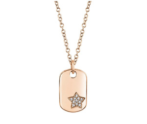 Diamond Star Dog Tag Pendant 14k Rose Gold Natural Round Cut Adjustable Necklace