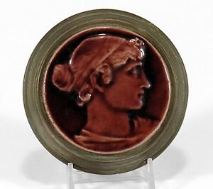 Low Art Tile Works iron brass stove portrait paperweight Arts & Crafts Chelsea