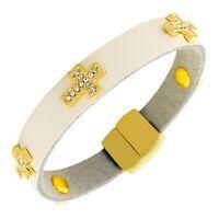 White Leather Yellow Gold Crystals CZ Cross Religious Wristband Wrap Bracelet