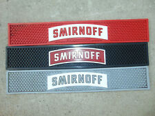 "3) SMIRNOFF Rubber Bar Drip Spill Mat BLACK/RED/GREY Lot Liquor VODKA 21"" NEW"