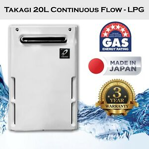 Takagi 20L Continuous Flow LPG Hot Water Heater Gas, Replace Rinnai Rheem DUX