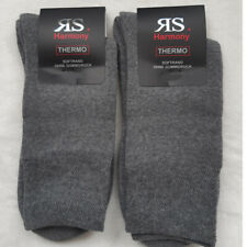 2 Pair Men's Thermal Socks Full Terrycloth Without Rubber Light Grey 43 To 46