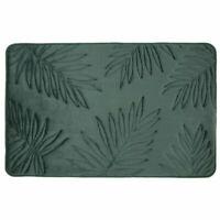Tropical Palm Leaf Memory Foam Bathroom Bath Mat Green Modern Scandi 50 x 80cm