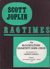 SCOTT JOPLIN - RAGTIMES - für Blockflöten - quartett oder - chor - SOKOLL