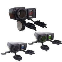Waterproof 12V Motorcycle Dual USB Charger Cigar Lighter Socket w/LED Voltmeter!