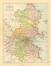 COUNTY DUBLIN. Antique county map. Leinster. Ireland. BARTHOLOMEW 1886 old