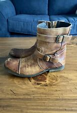 Bed Stu Mens Ankle Boots Distressed Zip Harness Cap Toe 9 -9.5-10