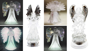 Crystal Clear LED Light Up Angel Figures Sculpture Christmas Decoration Ornament