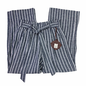 Knox Rose Black Iris Tie Waist Paper Bag High Rise Linen Pants Wide Leg Cropped