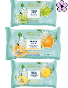 BIELENDA FRESH JUICE MAKE-UP REMOVING MICELAR FACE WIPES 20pcs 3 TYPES