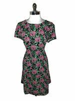 FOREVER 21 Plus Size 2X A-Line Dress Black Pink Floral Green Rose Short Sleeve